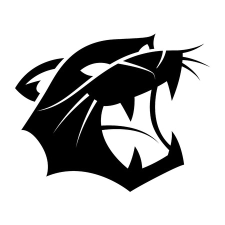Graphic head of tiger growling