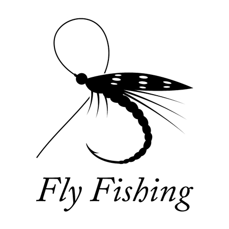 Graphic fly fishing vector