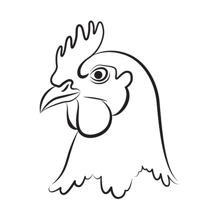 chicken head vector illustration Vettoriali
