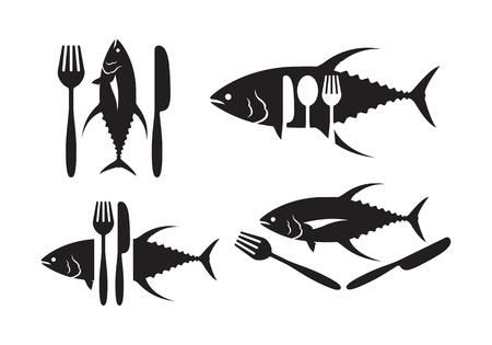 Graphic tuna fish and silverware illustration