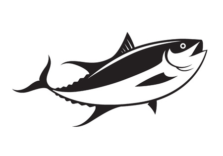 Graphic tuna fish, vector.