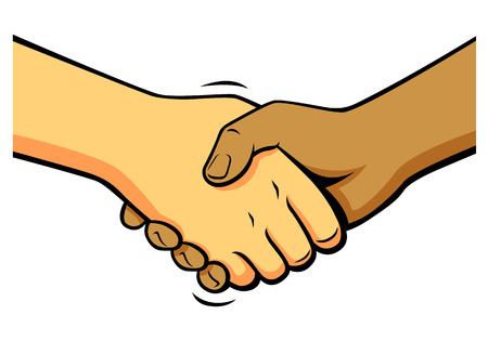 comics shake hands, vector
