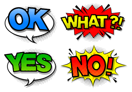 Comic speech bubble with expression text yes,no,ok,what. Vector Ilustração