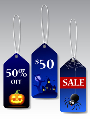 halloween tags promotion, vector