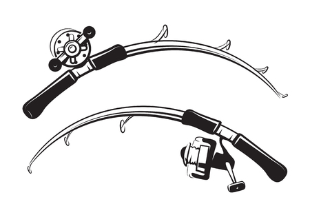 graphic fishing rod, vector