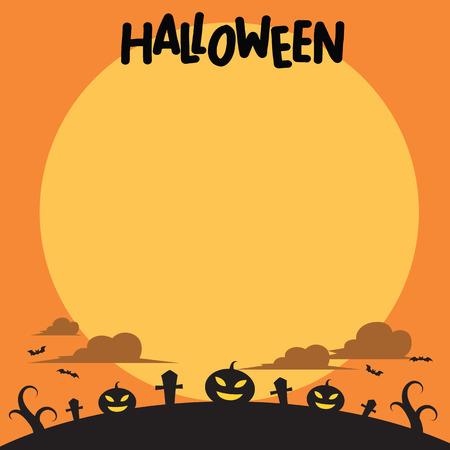 Halloween background, flat style, vector