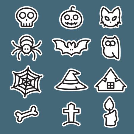 Icon set Halloween, flat style, vector