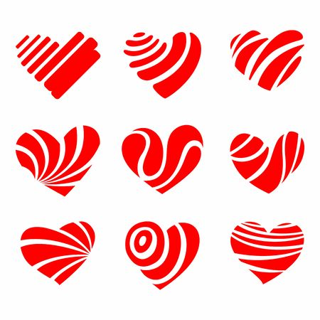 icon red heart flat style, vector