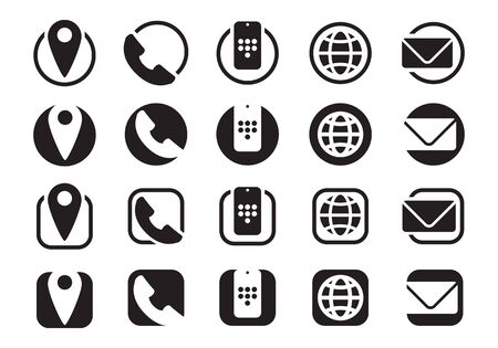 contact information icons, info telephone mobile website e-mail, vector