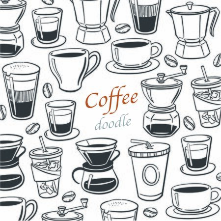 doodle coffee vector illustration Иллюстрация