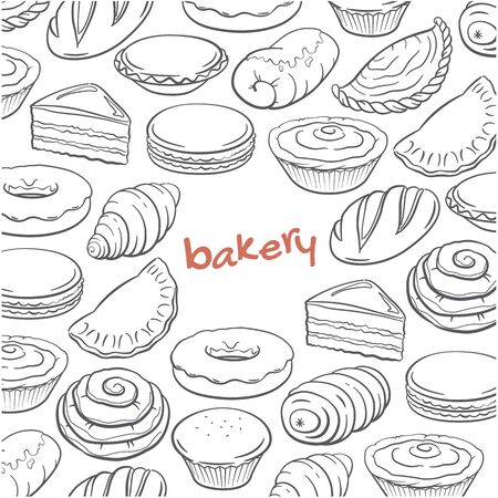 doodle bakery  vector illustration Иллюстрация