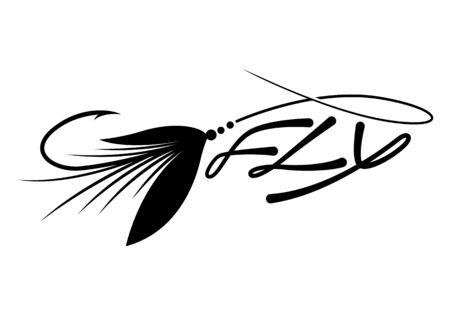 graphic fly fishing Illustration