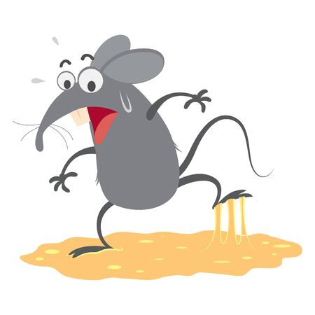 rat trapped in sticky glue traps,vector