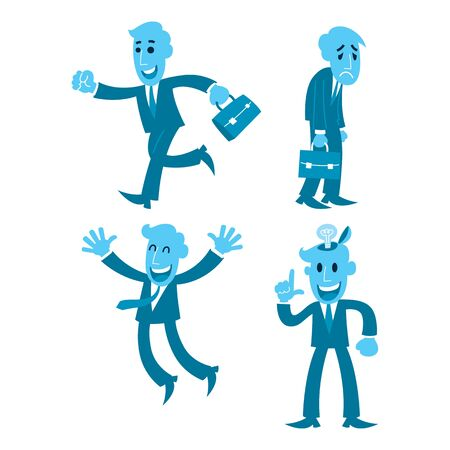 cartoon businessman four action, walking, tired, glad, solve
