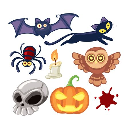 Cute Halloween Cartoon Set, vector