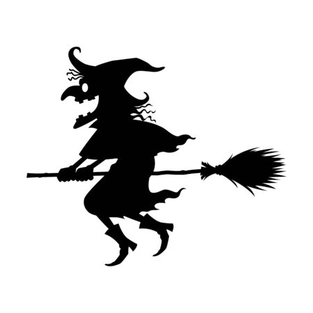 The black witch riding a broom, vector Иллюстрация