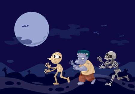 Three ghosts cartoon, Frankenstein mummy and skeleton at night.