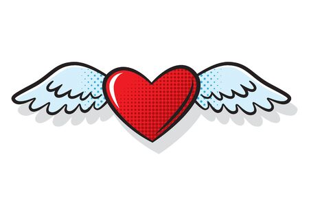 Heart wings fly romantic comics style, vector