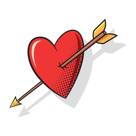 Heart arrow comics style, vector Иллюстрация