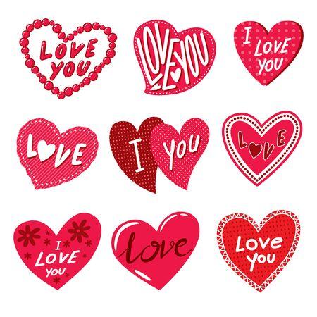 cute heart doodle clip art, vector Ilustrace