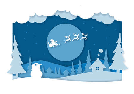 Santa paper cutting art with reindeers and cart is flying in the sky.