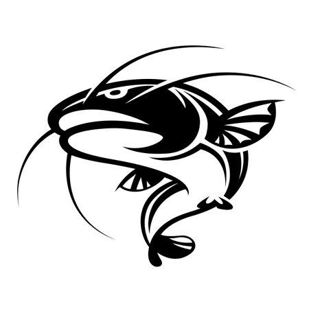 Graphic black catfish on white background
