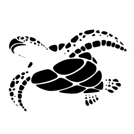 Graphic black sea turtle on white background, vector Illusztráció