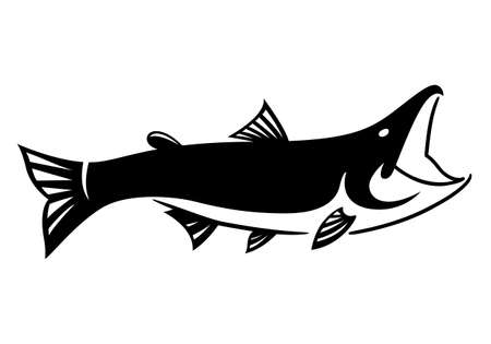 Graphic black fish on white background, vector