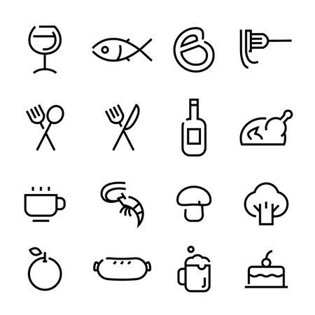 Restaurant icons set on white background, vector