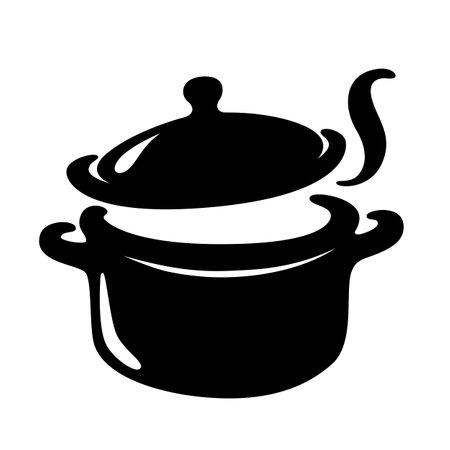 The soup pot is boiling, vector Illusztráció