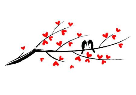 Two birds sitting on a branch, vector Illusztráció