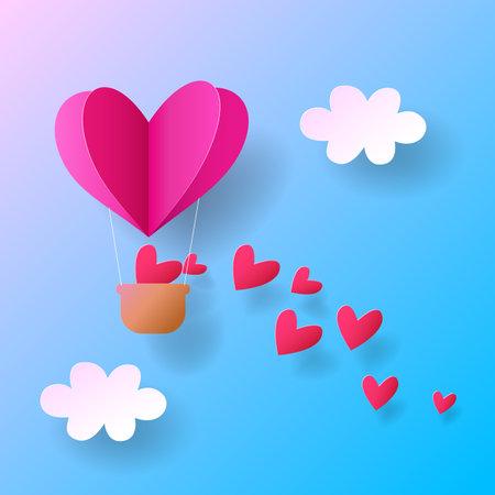 Paper art of heart balloon flying, vector Illusztráció