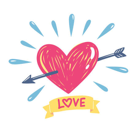 An arrow with heart and love message, vector