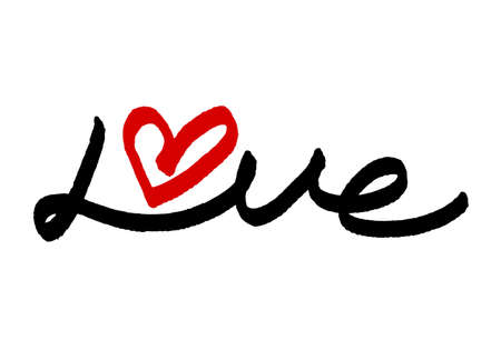 Love typography decorated with heart, vector