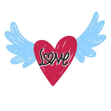 doodle heart love symbol with wings style, vector Illusztráció