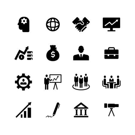 icon business corporate black on white background, vector