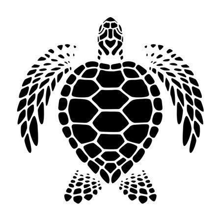 graphic sea turtle swimming, vector