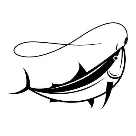 graphic fish on hook, vector
