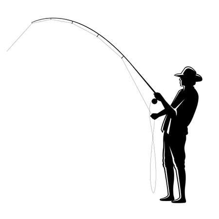 graphic fisherman on white background, vector Illusztráció