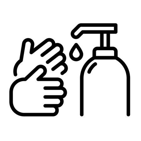 Simple hand washing symbol on white background.