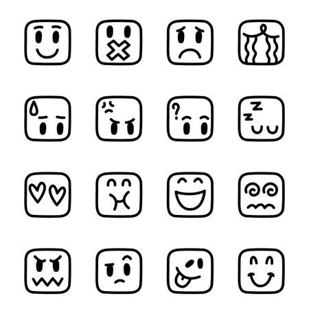 emoticon face in a rounded rectangle, vector