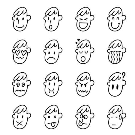 Man face icon set on white background, vector