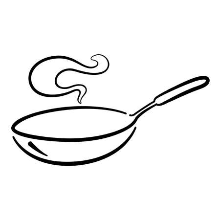 graphic pan cooking on white background, vector