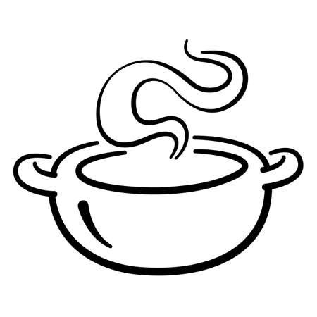 Soup pot graphic on white background, vector