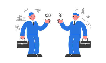 Two businessmen agreed to buy and sell. Иллюстрация
