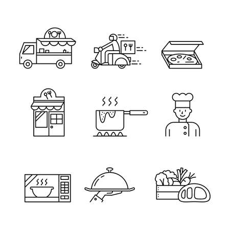 Collection of food icons and services, simple design.