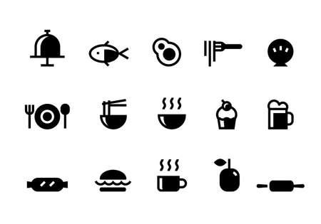 food simple icons set, vector Иллюстрация
