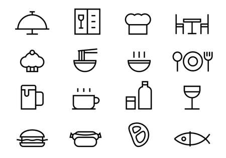 Outline food simple icons set, vector