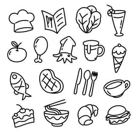 simple icon food doodle style, vector