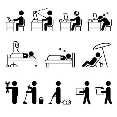 Icon collection people doing various activities Иллюстрация